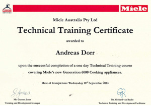 Miele Service Sydney Training Certificate